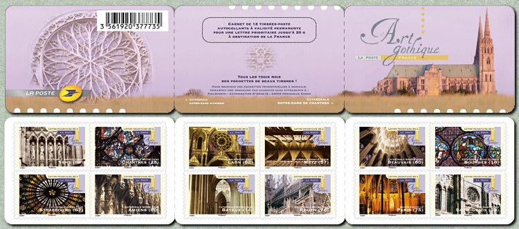 le carnet de 12 timbres auto adh sifs art gothique timbre de 2011. Black Bedroom Furniture Sets. Home Design Ideas