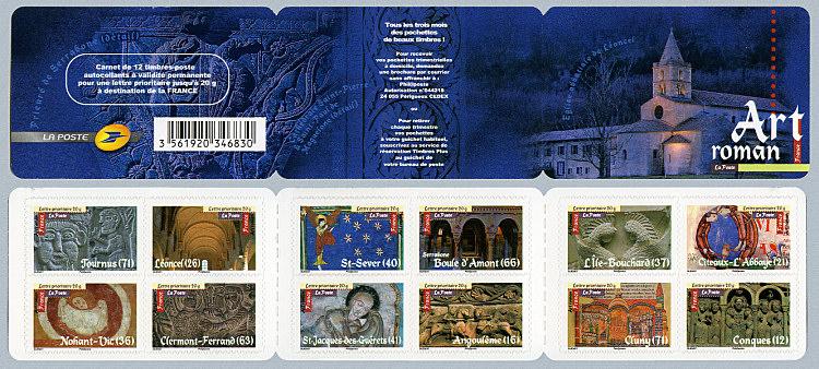 le carnet de 12 timbres auto adh sifs art roman timbre de 2010. Black Bedroom Furniture Sets. Home Design Ideas