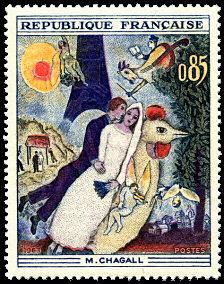 Chagall - les mariés de la Tour Eiffel - Timbre de 1963