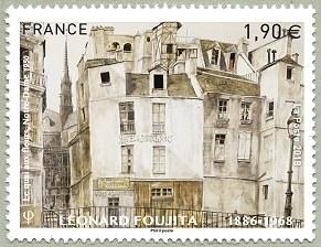 法国1月26日发行藤田嗣治 « Le quai aux fleurs, Notre-Dame »邮票