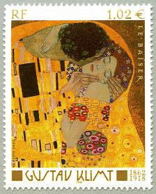 gustav klimt 1862 1918 le baiser timbre de 2002. Black Bedroom Furniture Sets. Home Design Ideas