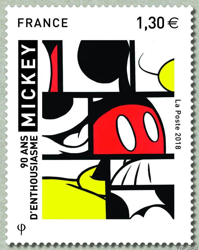 法国9月5日发行米奇,90年的热情!邮票