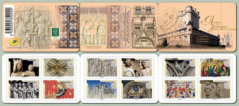 le carnet de 12 timbres auto adh sifs art gothique timbre de 2013. Black Bedroom Furniture Sets. Home Design Ideas