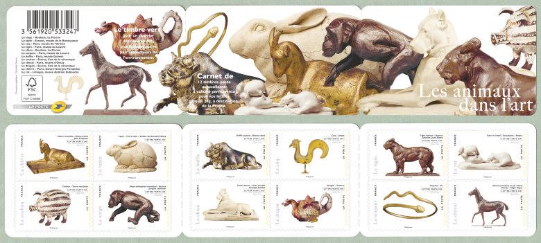 Bien-aimé Les animaux dans l´art Le carnet de 12 timbres auto-adhésifs  SC22