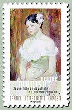 Berthe Morisot Jeune fille en décolleté, la fleur aux cheveux Portraits - Autoportraits - Timbre ...