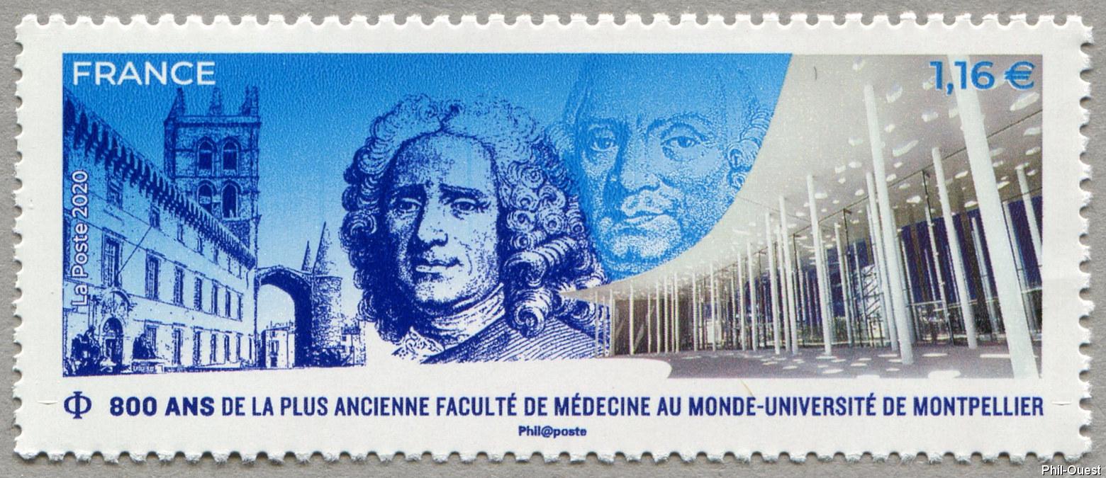 法国6月13日发行蒙彼利埃大学医学院800年邮票