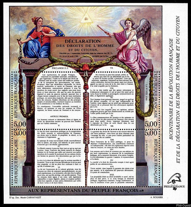 Déclaration des Droits de l´Homme et du Citoyen PhilexFrance 89 - Timbre de  1989