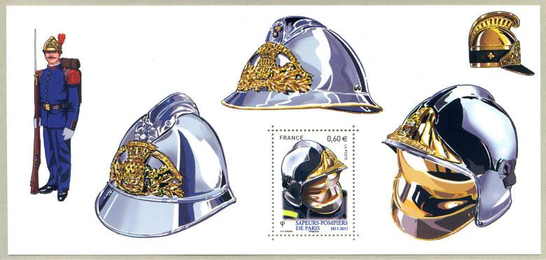 souvenir philat lique casques et insignes sapeurs pompiers de paris 1811 2011 timbre de 2011. Black Bedroom Furniture Sets. Home Design Ideas