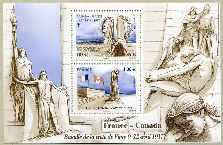 法国4月8日与加拿大联合发行维米岭战役百年小全张