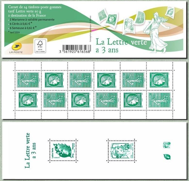 le carnet la lettre verte a 3 ans timbre de 2014. Black Bedroom Furniture Sets. Home Design Ideas