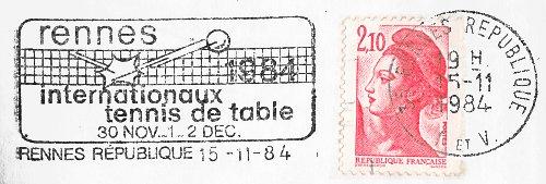 Flamme d oblit ration de rennes r publique rennes 1984 - Comite d ille et vilaine de tennis de table ...
