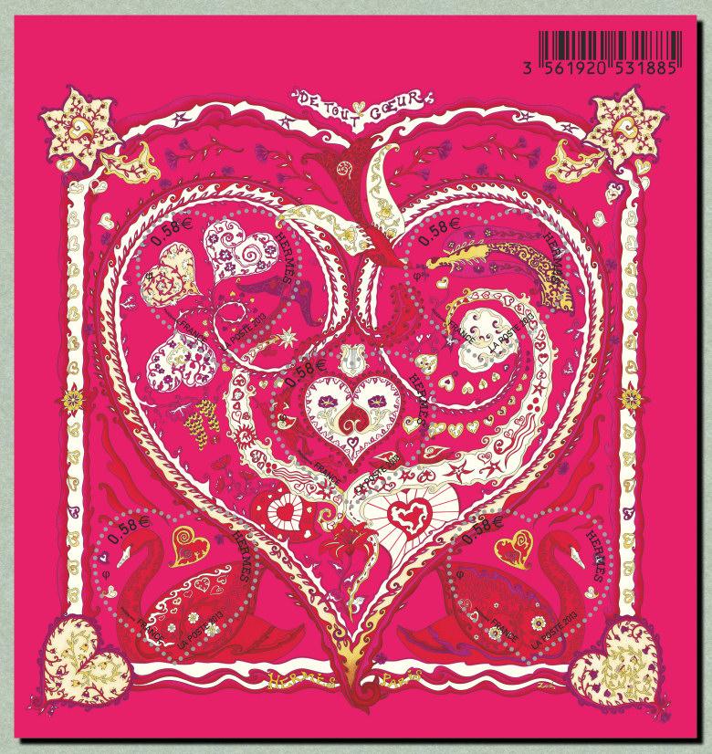 Le bloc-feuillet du coeur Hermès Saint Valentin - Timbre de 2013 9c1a2f7706c