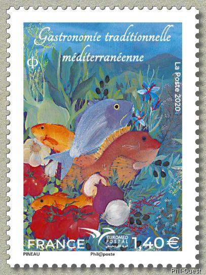 法国7月10日发行地中海邮政联盟2020主题传统地中海美食法式海鲜汤邮票