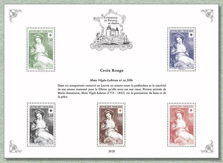 法国9月21日发行红十字会-维吉・勒布伦夫人和她的女儿邮票