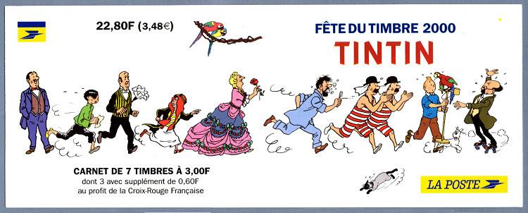 Carnet tintin et milou f te du timbre timbre de 2000 - Image de tintin et milou ...