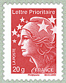 Image du timbre Lettre prioritaire 20 g France rouge