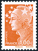 Image du timbre 1 euro orange