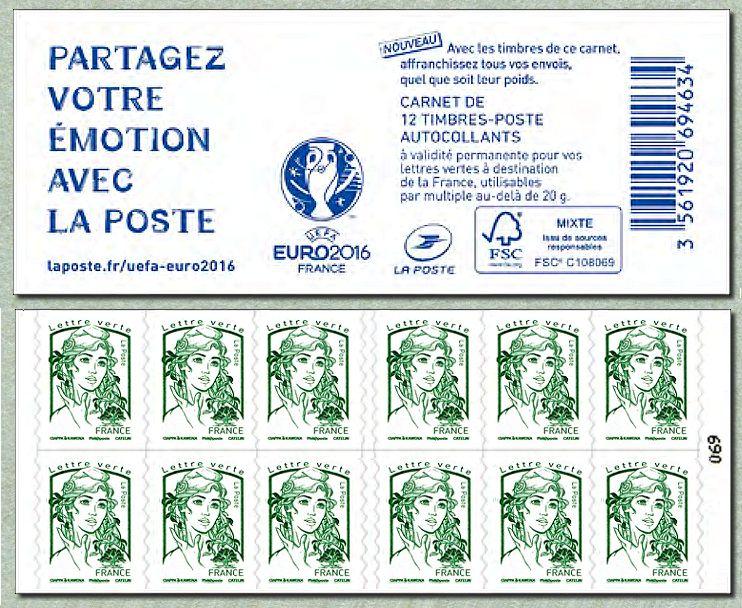 carnet euro2016 de 12 timbres pour lettre verte de la marianne de ciappa et kawena marianne et. Black Bedroom Furniture Sets. Home Design Ideas