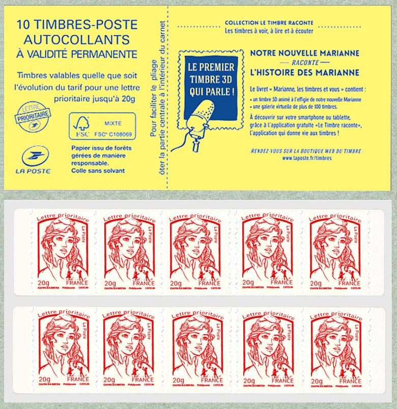 carnet de 10 timbres pour lettre prioritaire de la