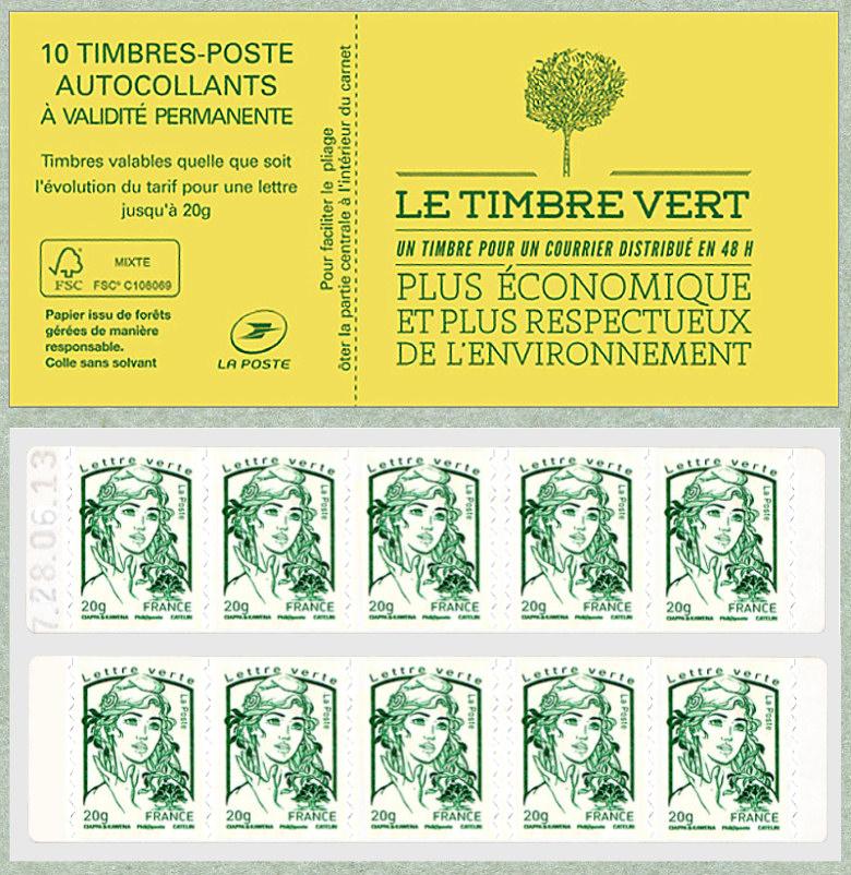 carnet de 10 timbres pour lettre verte de la marianne de ciappa et kawena marianne et la. Black Bedroom Furniture Sets. Home Design Ideas