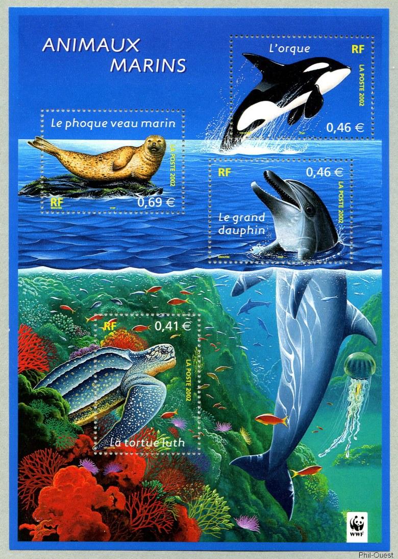 Connu Bloc-feuillet Animaux marins Nature de France - Animaux marins  IZ19