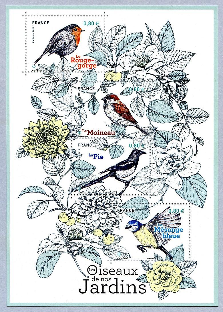 法国6月10日发行2018巴黎邮展-我们花园里的鸟儿小全张