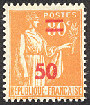 Image du timbre Type Paix 50c sur 80c orange