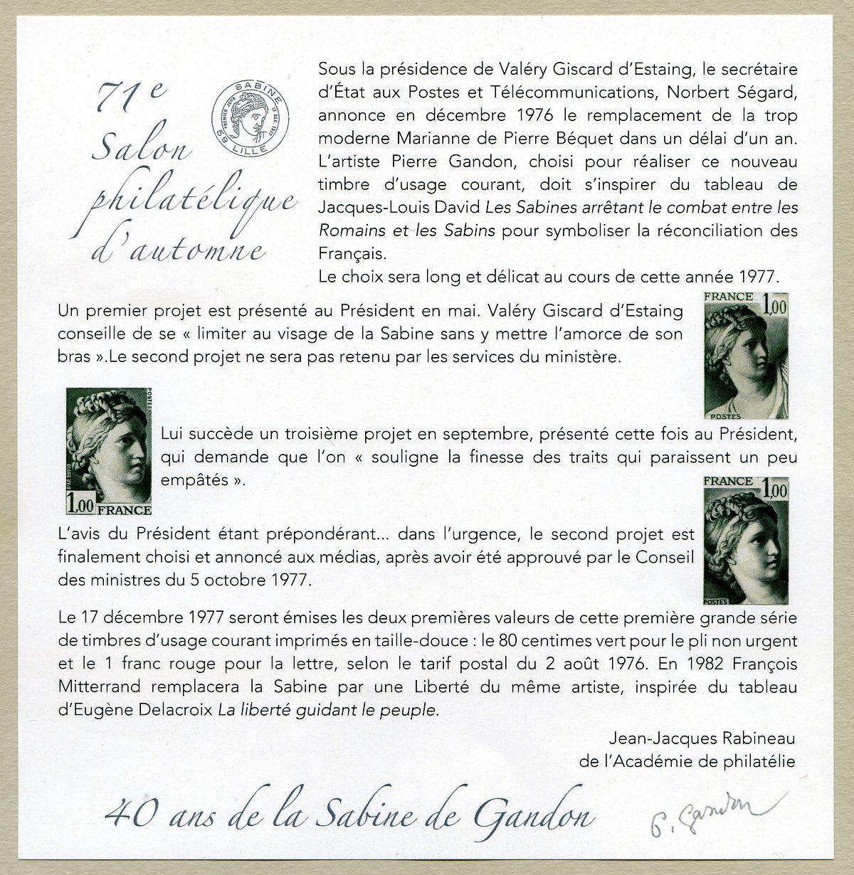40 ans de la sabine de gandon 71e salon philat lique d for Salon du timbre 2017
