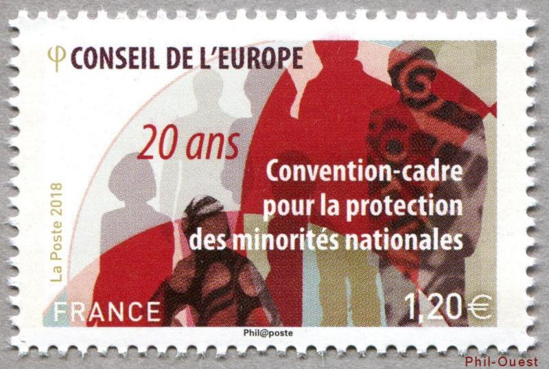 法国10月12日发行保护少数民族框架公约20年邮票