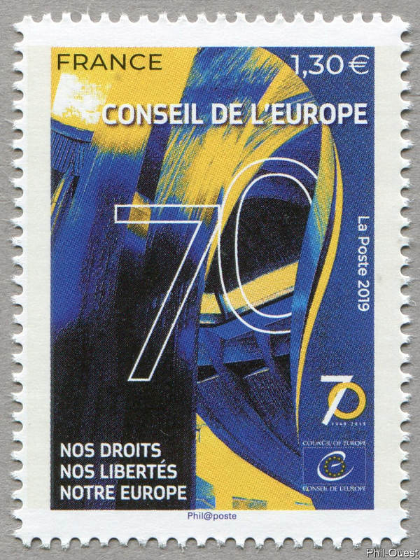 法国5月5日发行欧洲委员会70周年邮票