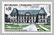 Parlement de Bretagne /à Rennes par des Livres Express France 1962 Timbre de Collection Neuf Authentique No 1351 Monument