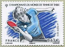 Championnats du monde de tennis de table epreuves dames timbre de 2013 - Tennis de table championnat du monde ...