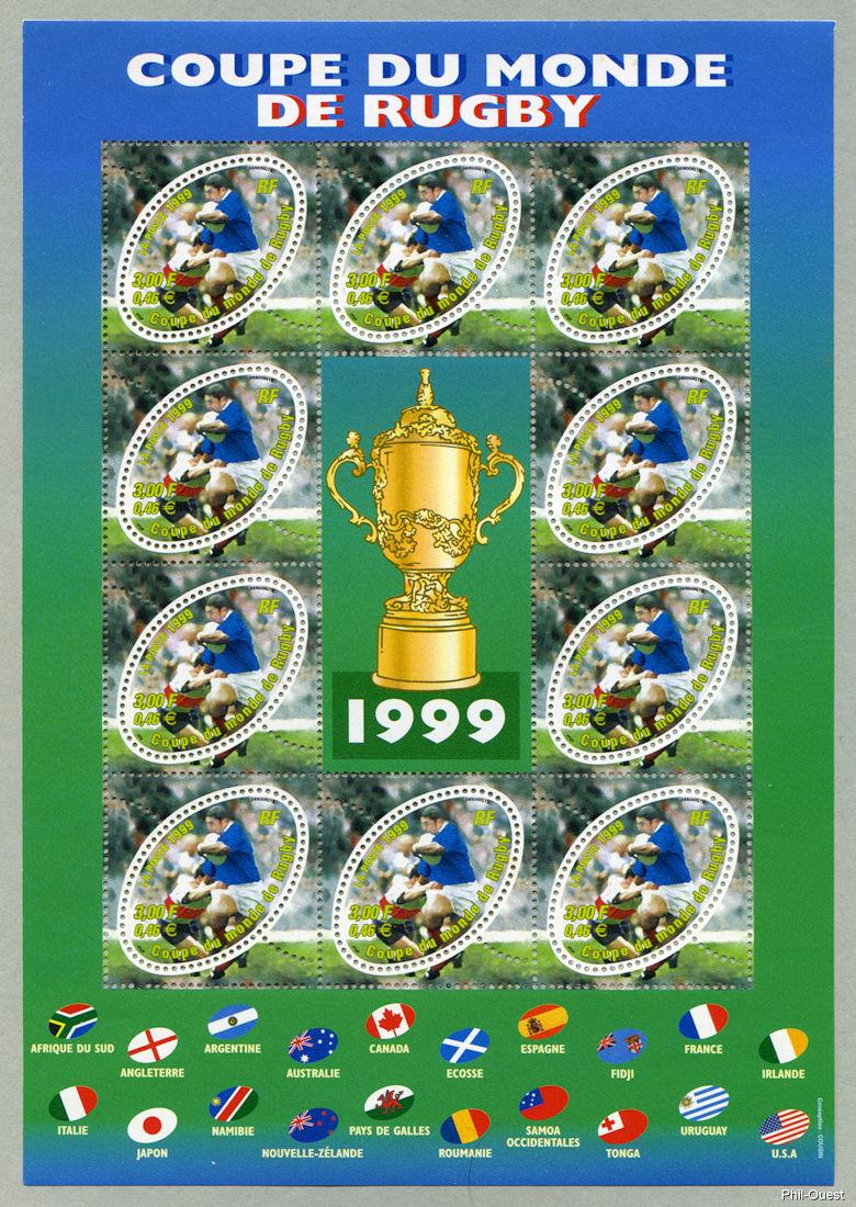 Bloc feuillet de la coupe du monde de rugby 1999 timbre de 1999 - Liste des coupes du monde ...