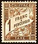 Image du timbre Chiffre-taxe type banderole 1F brun