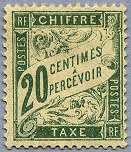 Image du timbre Chiffre-taxe type banderole 20c olive